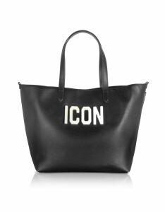 DSquared2 Designer Handbags, Black Leather and Plexy Icon Tote Bag