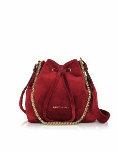 Lancaster Paris Designer Handbags, Quilted Velvet Couture Small Bucket Bag