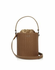 Meli Melo Designer Handbags, Light Tan Woven Santina Mini Bucket bag