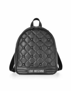 Love Moschino Designer Handbags, Black Eco-leather Studded Backpack