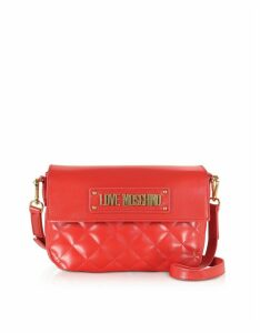 Love Moschino Designer Handbags, Quilted Eco-Leather Shoulder Bag