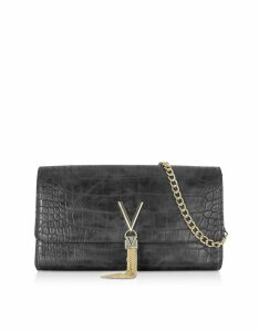 Valentino by Mario Valentino Designer Handbags, Audrey Croco Embossed Eco Leather Clutch