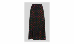 Scattered Leaf Tie Front Skirt