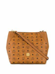 MCM logo print shoulder bag - Brown