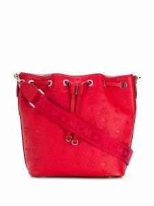 MCM embossed logo bucket bag - Red