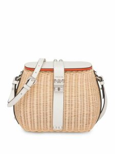 Prada wicker and leather shoulder bag - Neutrals