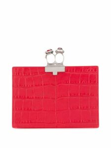 Alexander McQueen jewelled two-ring clutch - Red