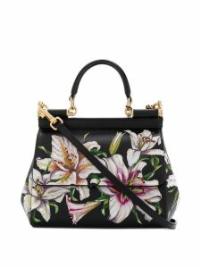 Dolce & Gabbana small floral print Sicily tote bag - Black