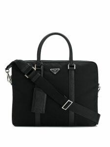 Prada logo plaque laptop bag - Black