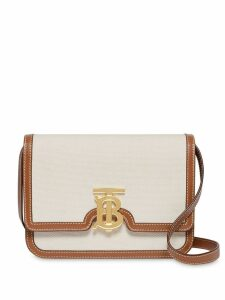 Burberry Small Two-tone Canvas and Leather TB Bag - White