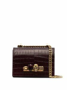 Alexander McQueen small jewelled crossbody bag - Red
