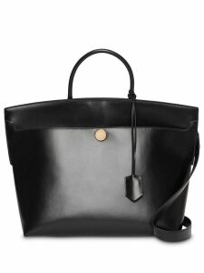 Burberry Leather Society Top Handle Bag - Black