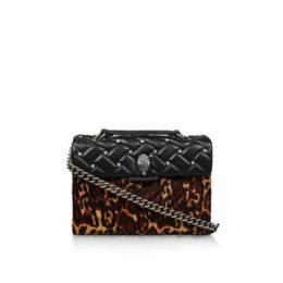 Kurt Geiger London Leather Kensington X Bag - Black Leopard Print Studded Shoulder Bag