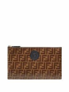 Fendi large FFreedom envelope clutch - Brown