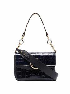 Chloé C crocodile-effect double carry shoulder bag - Blue