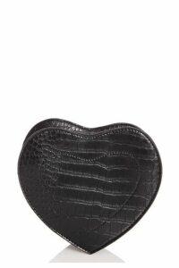 Quiz Black Print Heart Bag