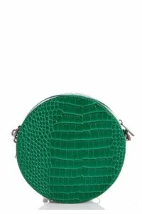 Quiz Green Faux Leather Circle Bag