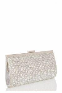 Quiz Silver Diamante Cross Front Bag