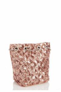 Quiz Rose Gold Sequin Pouch Bag
