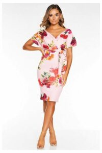 Quiz Pink And Red Floral Ruched Wrap Midi Dress