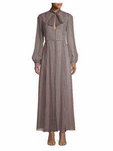 Rose Polka Dot Silk Maxi Dress