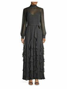 Cordula Silk Polka Dot Ruffle Dress