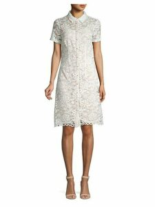 Short-Sleeve Lace Button-Front Dress