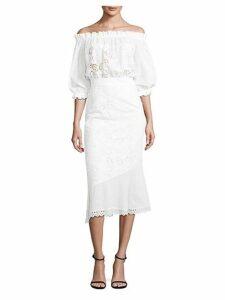 Grace Anglaise Off-The-Shoulder Midi Dress