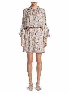 Floral-Print Silk Blouson Dress