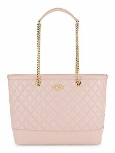 Quilted Faux-Leather Chain Tote