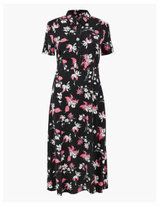 M&S Collection Floral Print Shirt Midi Dress