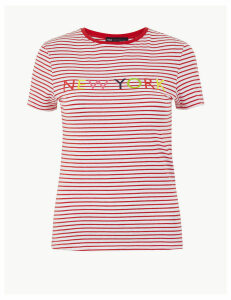 M&S Collection Striped Fitted T-Shirt