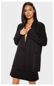 Black Woven A Line Mini Skirt, Black