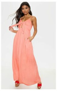 Peach Woven Button Through Tie Maxi Dress, Orange