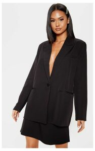Black Oversized Dad Woven Blazer, Black