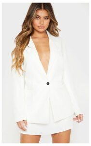 White Oversized Dad Woven Blazer, White