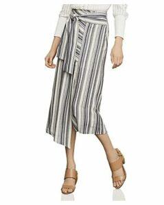 Bcbgmaxazria Asymmetric Striped Midi Skirt