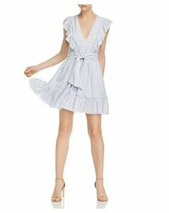 Saylor Striped Ruffle Tie-Front Dress