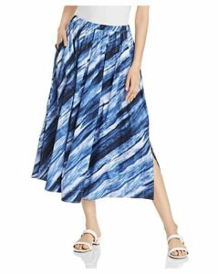 Donna Karan New York Printed Pleated Midi Skirt