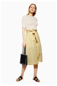 Womens Button Midi Skirt With Linen - Lemon, Lemon