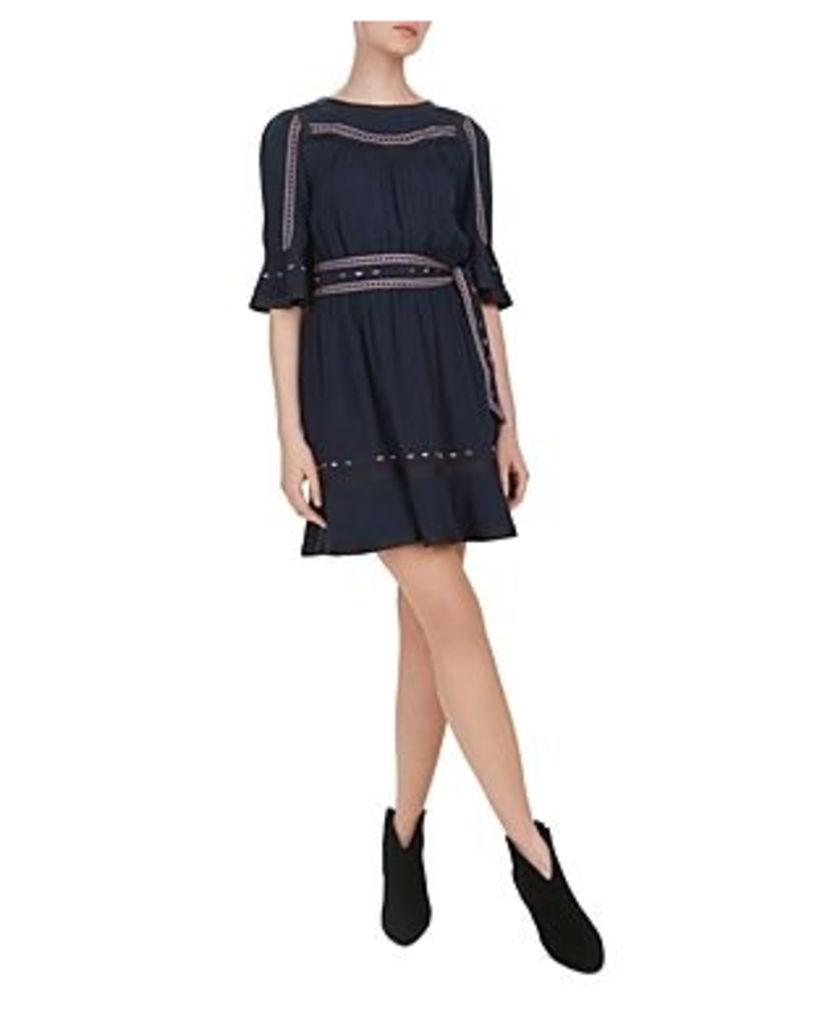 Ba & sh Plaza Embroidered Bell-Sleeve Dress