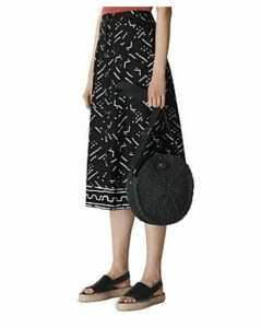 Whistles Printed Button-Down Linen Midi Skirt