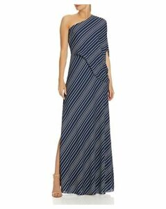 Halston Heritage Asymmetric Striped Gown