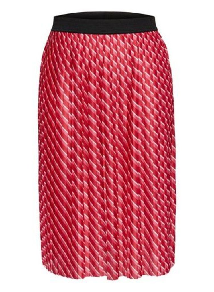 Womens **Only Red Pleated Midi Skirt- Red, Red