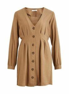 Womens **Vila Beige Long Sleeve Linen Blend Shirt Dress- Beige, Beige