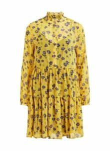 Womens **Vila Yellow Floral Print Ruffle Skater Dress- Yellow, Yellow