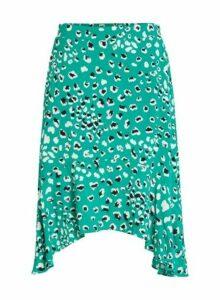 Womens **Vila Green Animal Print Hanky Skirt- Green, Green