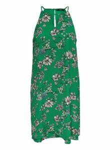 Womens **Only Mulberry Green Sleeveless Halter Neck Dress- Multi Colour, Multi Colour