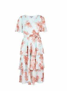Womens Petite Multi Colour Ruffle Floral Print Midi Dress- Blue, Blue