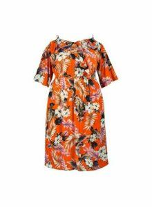 Womens **Dp Curve Tropical Print Crinkle Dress- Orange, Orange